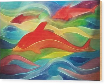Red Dolphin Wood Print by Ann Croon