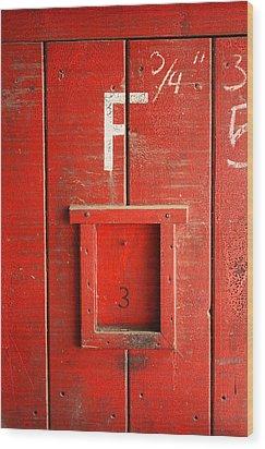 Red Door Wood Print by Bobby Villapando