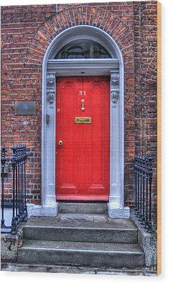 Red Door Dublin Ireland Wood Print by Juli Scalzi