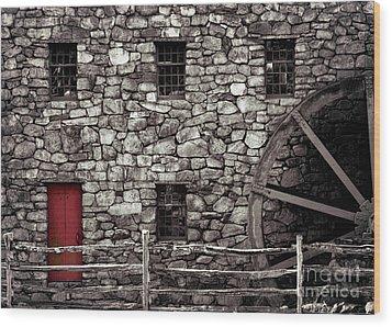 Red Door Wood Print by Jayne Carney