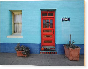 Red Door On Blue Wall Wood Print