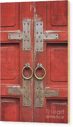 Red Doors 01 Wood Print