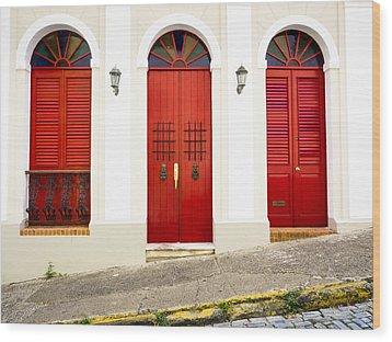 Red Doors Wood Print