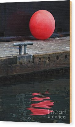 Red Dot Wood Print by Elena Nosyreva