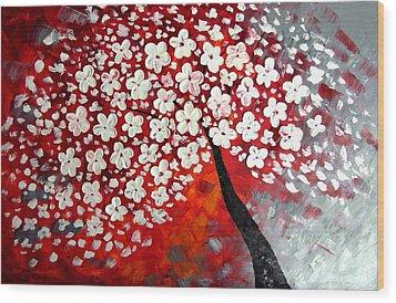 Red Dream Wood Print by Mariana Stauffer