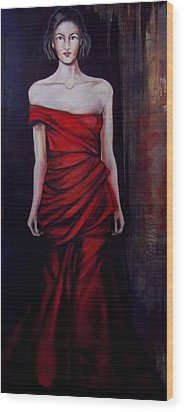 Wood Print featuring the painting Red Dress by Irena Mohr