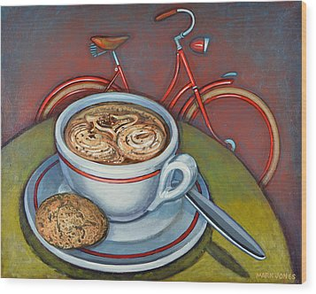 Red Dutch Bicycle With Cappuccino And Amaretti Wood Print by Mark Jones