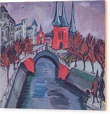 Red Elisabeth Riverbank Berlin Wood Print by Ernst Ludwig Kirchner