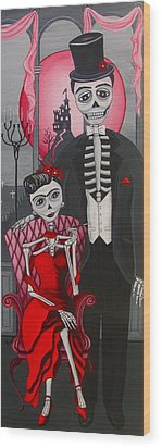 Wood Print featuring the painting Red Engagement - Frida Y Diego by Evangelina Portillo