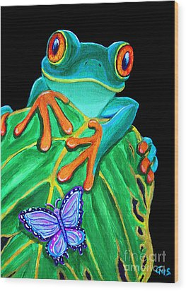 Red-eyed Tree Frog And Butterfly Wood Print by Nick Gustafson