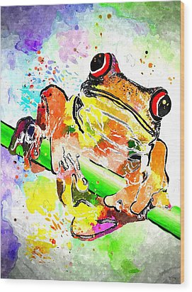 Red Eyed Tree Frog Grunge Wood Print