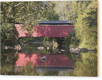 Red Fairhill Covered Bridge Two Wood Print by Alice Gipson