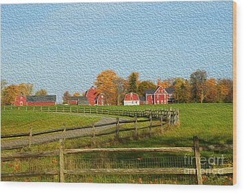 Red Farm House And Barns Wood Print