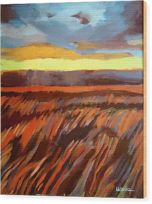Wood Print featuring the painting Red Field by Helena Wierzbicki