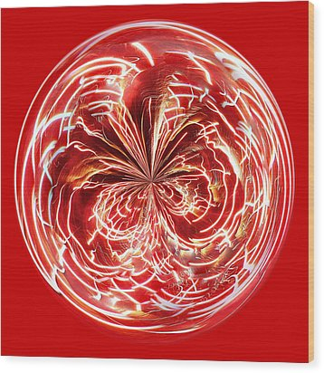 Red Fireworks Orb Wood Print by Paulette Thomas