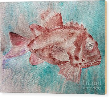 Wood Print featuring the painting Red Fish by Jasna Dragun