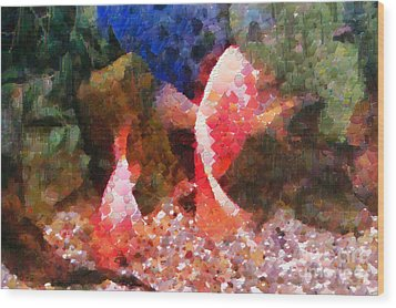Red Fishes Painting Wood Print by Magomed Magomedagaev