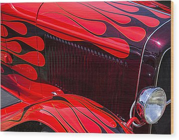 Red Flames Hot Rod Wood Print by Garry Gay