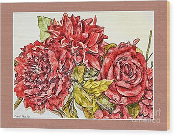 Red Floral Photoart Wood Print by Debbie Portwood