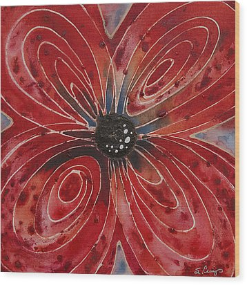 Red Flower 2 - Vibrant Red Floral Art Wood Print by Sharon Cummings