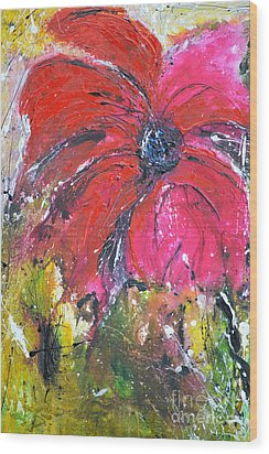 Red Flower - Abstract Painting Wood Print by Ismeta Gruenwald