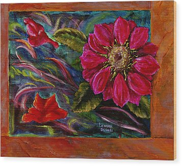 Wood Print featuring the painting Red Flower In Rust And Green by Lenora  De Lude