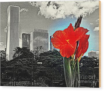 Red Flower Wood Print by Scott Dixon