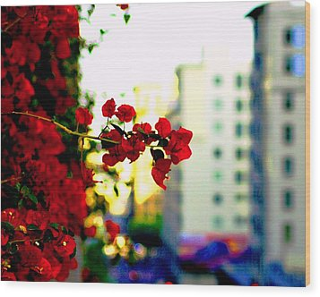 Red Flowers Downtown Wood Print by Matt Harang