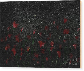 Wood Print featuring the painting Red Flowers In Moonlight by Becky Lupe