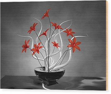 Red Flowers Wood Print by Louis Ferreira