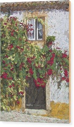 Red Flowers On Vine Wood Print