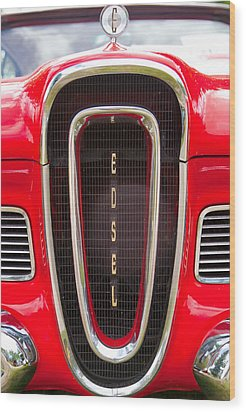 Red Ford Edsel Grill Detail Wood Print by Mick Flynn