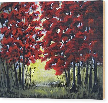 Wood Print featuring the painting Red Forest by Suzanne Theis