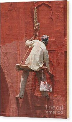 Red Fort Painter Wood Print by Nola Lee Kelsey