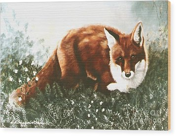 Wood Print featuring the painting Red Fox Hunting by DiDi Higginbotham