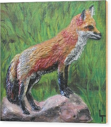 Red Fox Wood Print by Lorrie T Dunks