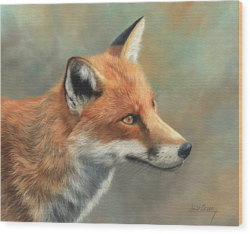 Red Fox Portrait Wood Print by David Stribbling