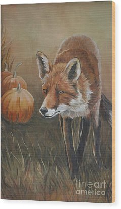 Red Fox With Pumpkins Wood Print by Charlotte Yealey