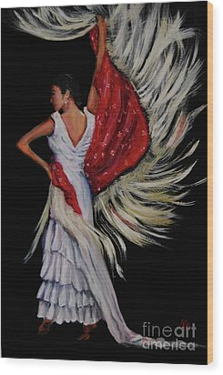 Red Fringed Scarf Wood Print by Nancy Bradley