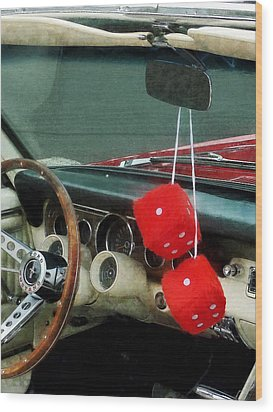 Red Fuzzy Dice In Converible Wood Print by Susan Savad