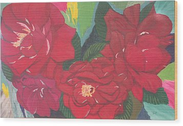 Red Garden Roses Wood Print by Hilda and Jose Garrancho