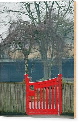 Red Gate Wood Print by Susan Tinsley