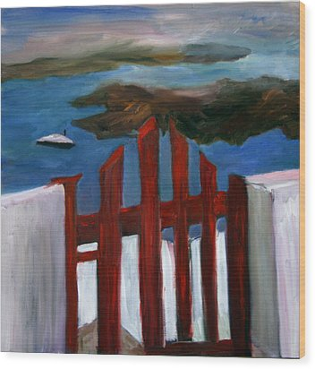 Wood Print featuring the painting Red Gate To Atlantis by Michael Helfen