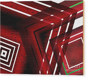 Red Geometric Design Wood Print by Mario Perez