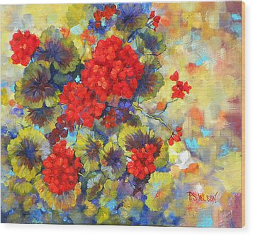Red Geraniums II Wood Print by Peggy Wilson