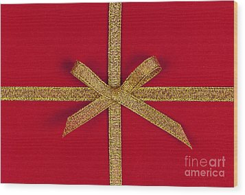 Red Gift With Gold Ribbon Wood Print by Elena Elisseeva
