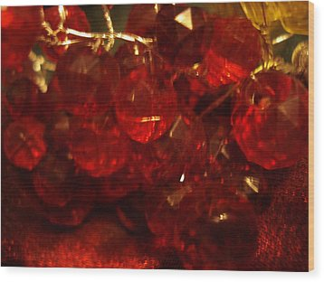 Red Glass Grapes Wood Print