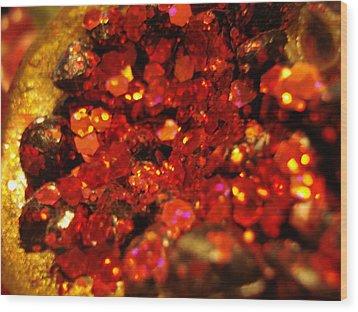 Red Glitter Pomagranite Wood Print