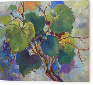 Red Grape Vines Wood Print by Peggy Wilson