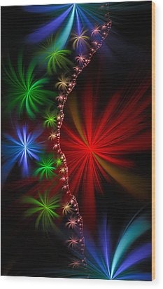 Red Green And Blue Fractal Stars Wood Print by Matthias Hauser